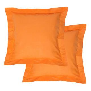 Bawełniane poszewki na poduszki z ramką, pomarańczowe 2 szt.