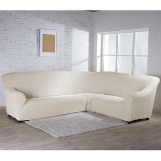 Bi-elastyczne pokrowce BUKLÉ śmietankowy, kanapa narożnikowa (sz. 350 - 530 cm)