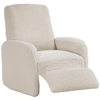 Bi-elastyczne pokrowce BUKLÉ śmietankowy, fotel relaks (sz. 70 - 90 cm)
