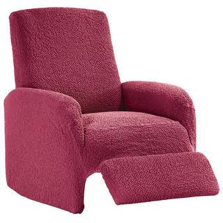 Bi-elastyczne pokrowce BUKLÉ truskawkowy, fotel relaks (sz. 70 - 90 cm)