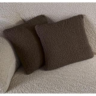 Bi-elastyczne pokrowce BUKLÉ brąz tytoniowy, poszewki na poduszkę 2 szt. (40 x 40 cm)