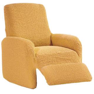 Bi-elastyczne pokrowce BUKLÉ musztardowy fotel relaks (sz. 70 - 90 cm)