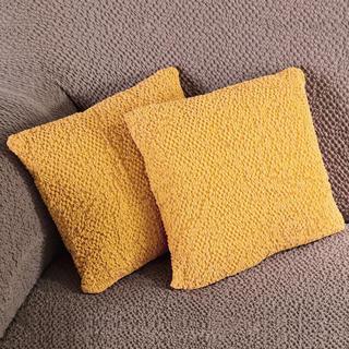 Bi-elastyczne pokrowce BUKLÉ musztardowy poszewki na poduszkę 2 szt. (40 x 40 cm)