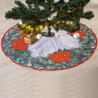 Okrągły obrus świąteczny pod choinkę POINSETTIA 120 cm