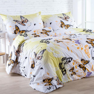 Pościel bawełniana Butterfly żółta