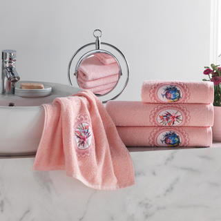 Zestaw ręczników frotte z haftem łososiowy 4 szt.