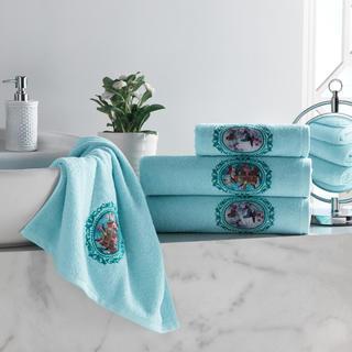 Zestaw ręczników frotte z haftem jasnoniebieski 4 szt.