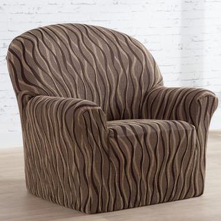 Mono-elastyczne pokrowce CASIOPEA brązowe, fotel (sz. 70 - 110 cm)
