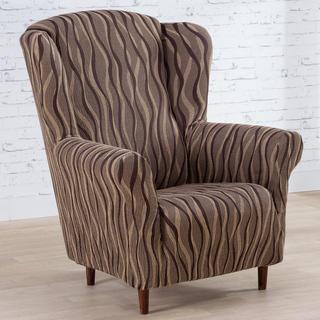 Mono-elastyczne pokrowce CASIOPEA brązowe, fotel uszak (sz. 70 - 110 cm)