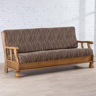 Mono-elastyczne pokrowce CASIOPEA brązowe, kanapa trzyosobowa z drew. bokami (sz. 170 - 200 cm)