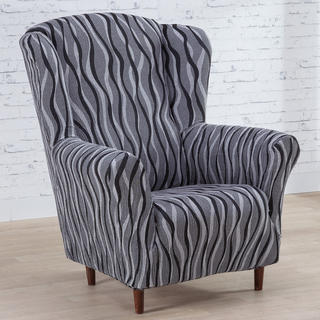 Mono-elastyczne pokrowce CASIOPEA szare fotel uszak (sz. 70 - 110 cm)