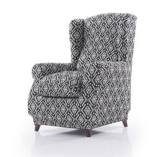 Mono-elastyczne pokrowce ZUMA czarno-biały, fotel uszak (sz. 70 - 110 cm)
