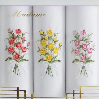 Damskie bawełniane chusteczki GRACE Bukiet róży 3 sztuki