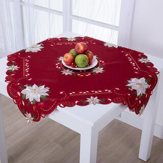 Świąteczny czerwony obrus nakładka POISONETTA 85 x 85 cm