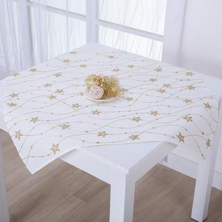 Świąteczna śmietankowa nakładka na stół  ze złotym haftem GWIAZDY 85 x 85 cm