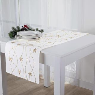 Świąteczny obrus biały bieżnik z haftem Złote gwiazdy 40 x 160 cm