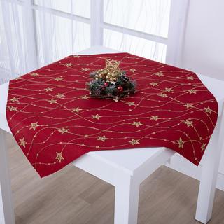 Świąteczna czerwona nakładka na stół  ze złotym haftem GWIAZDY 85 x 85 cm