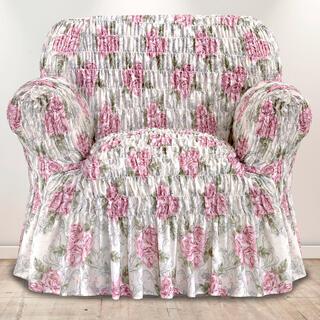 Napinające pokrowce z falbaną POESIA bordowe, fotel (sz. 60 - 110 cm)