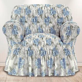 Napinające pokrowce z falbaną POESIA niebieskie, fotel (sz. 60 - 110 cm)