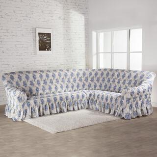 Napinające pokrowce z falbaną POESIA niebieskie, kanapa narożnikowa (sz. 350 - 530 cm)