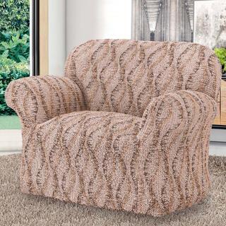 Bi-elastyczne pokrowce LIBECCIO cieniowane brązowe, fotel (sz. 60 - 110 cm)