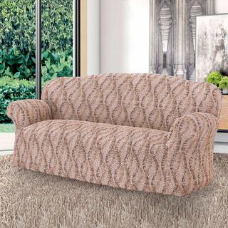 Bi-elastyczne pokrowce LIBECCIO cieniowane brązowe, kanapa trzyosobowa (sz. 170 - 220 cm)