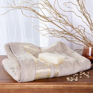 Ręcznik kąpielowy bambusowy ze złotą bordiurą ORZESZKOWY 70 x 140 cm