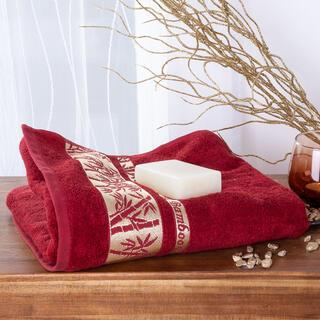 Ręcznik kąpielowy bambusowy ze złotą bordiurą BORDOWY 70 x 140 cm