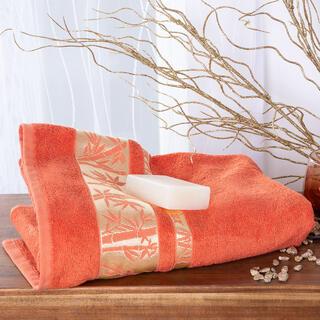 Ręcznik kąpielowy bambusowy ze złotą bordiurą MORELOWY 70 x 140 cm