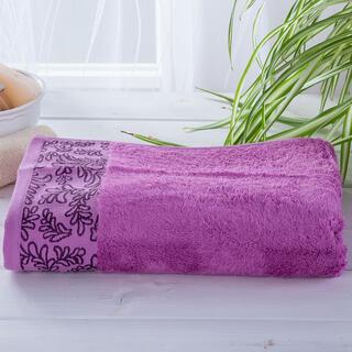 Ręcznik kąpielowy bambusowy z bordiurą FUKSJA 70 x 140 cm