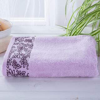 Ręcznik kąpielowy bambusowy z bordiurą JASNY FIOLET 70 x 140 cm