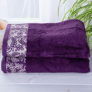 Zestaw ręczników bambusowych z bordiurą CIEMNY FIOLET 2 szt.