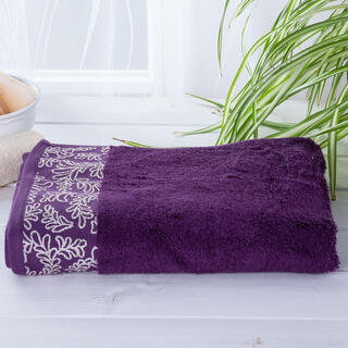 Ręcznik kąpielowy bambusowy z bordiurą CIEMNY FIOLET 70 x 140 cm