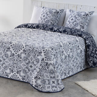 Narzuta na łóżko INES niebiesko-biała