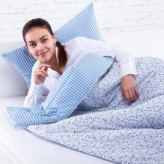 Zestaw letniej kołdry 140 x 200 cm i poduszki 40 x 60 cm ŻANETA  niebieski