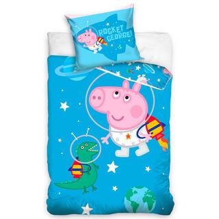 Bawełniana pościel dziecięca do łóżeczka ŚWINKA PEPPA Rakieta George
