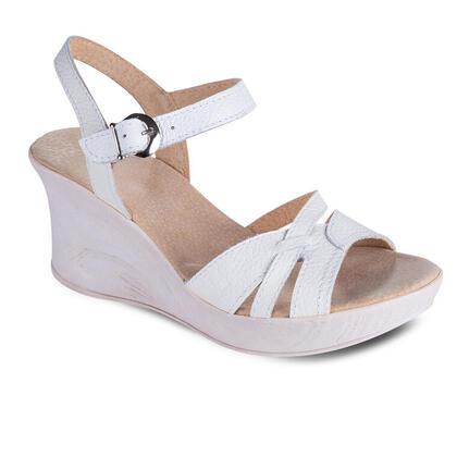 Damskie letnie sandały na koturnie białe