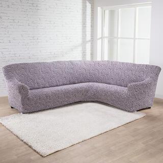 Bi-elastyczne pokrowce BRILLANTE brązowe, kanapa narożnikowa (sz. 350 - 530 cm)