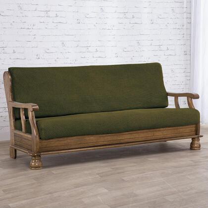 Super streczowe pokrowce NIAGARA zielone kanapa dwuosobowa z drew. bokami (sz. 130 - 160 cm)
