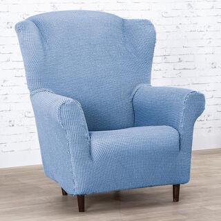 Super streczowe pokrowce NIAGARA niebieskie, fotel uszak (sz. 70 - 95 cm)