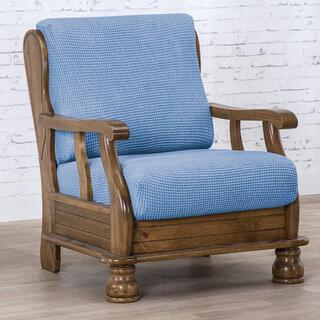 Super streczowe pokrowce NIAGARA niebieskie, fotel z drewnianymi bokami (sz. 50 - 80 cm)