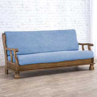 Super streczowe pokrowce NIAGARA niebieskie, kanapa dwuosobowa z drew. bokami (sz. 130 - 160 cm)