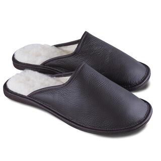 Męskie kapcie na szeroką stopę czarno - brązowe