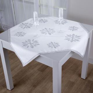 Świąteczny obrus nakladka z kamykami Płatki śniegu 85 x 85 cm