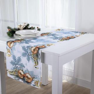Świąteczny bieżnik na stół Złote bąbki 40 x 160 cm