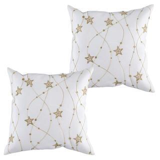 Zestaw 2 szt. białych poszewek na poduszki z haftem Złote gwiazdy 40 x 40 cm