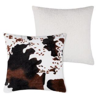 Dekoracyjna poduszka z barankiem z wzorem krowiej skóry 40 x 40 cm