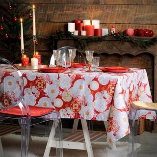 Luksusowy obrus świąteczny JINGLE BELLS bąbki 140 x 280 cm