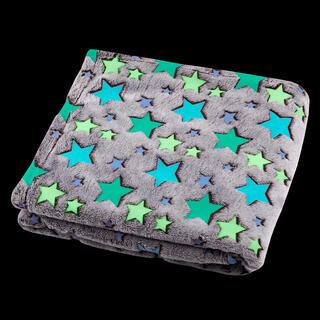 Koc świecący w ciemności z mikrowłókna FILANTE-LICORNE gwiazdy 130 x 160 cm