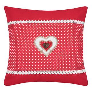 Poduszka dekoracyjna LYNA kropki serce czerwona LYNA  40 x 40 cm